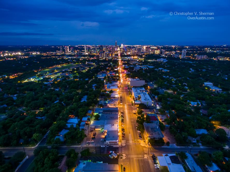 Aerial View South Congress in Austin