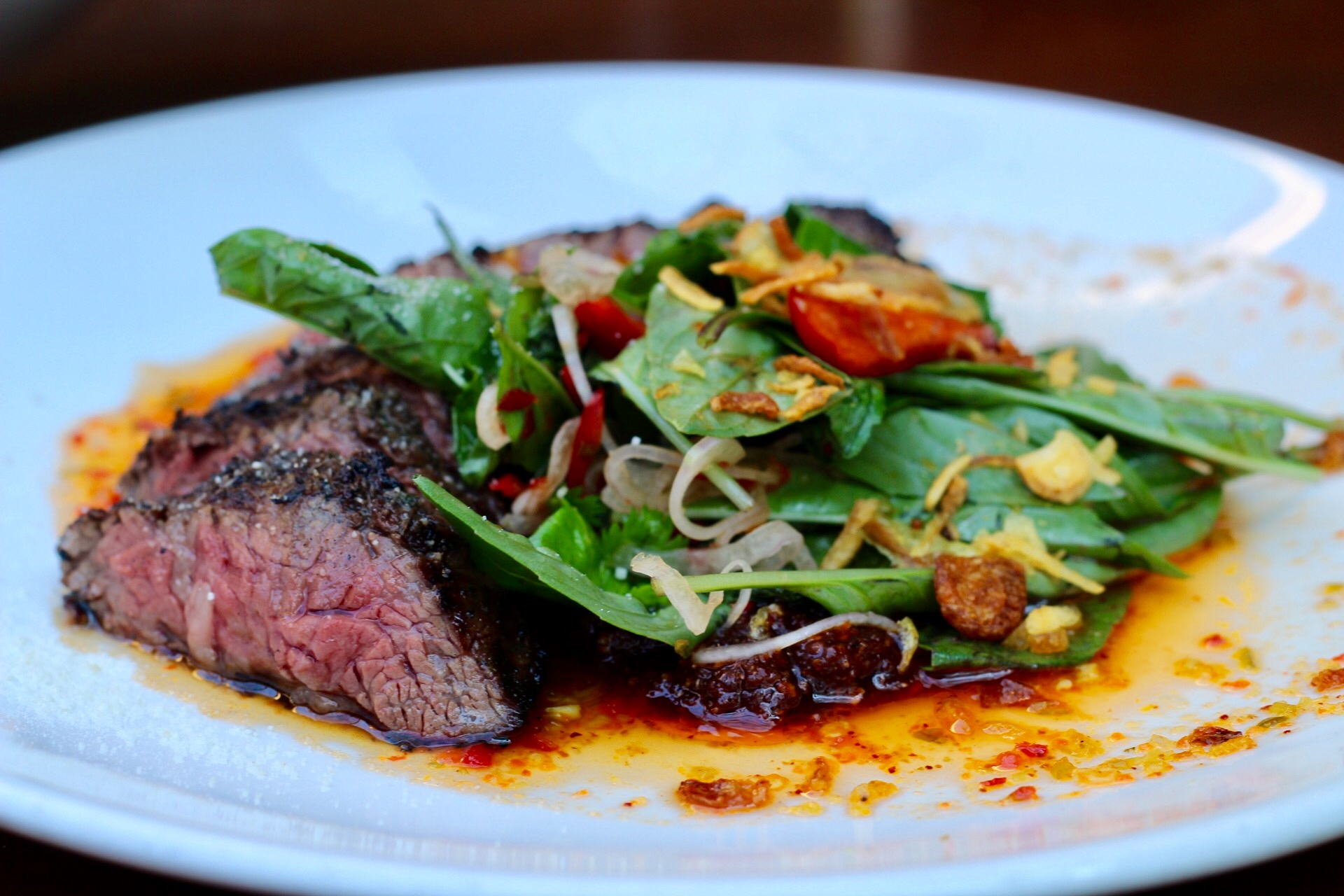 Tiger Cry with char-grilled hanger steak at Sway