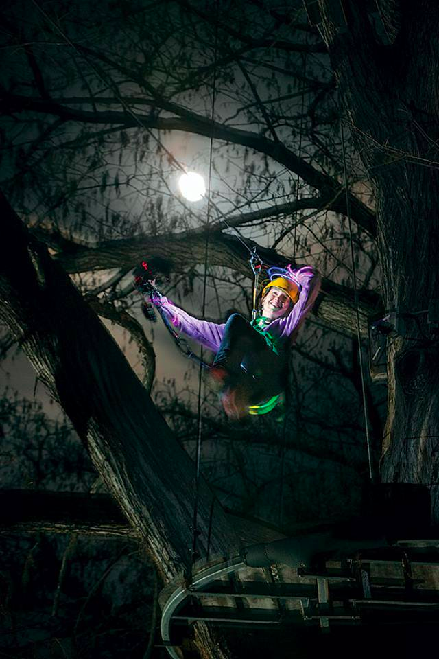 Ziplining at Night Near Austin, Texas