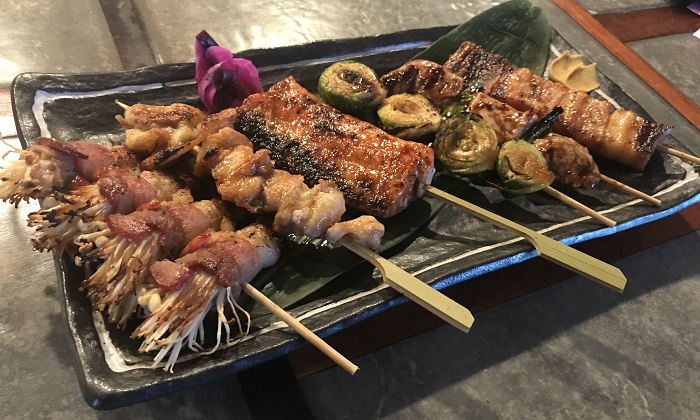 Traditional Japanese barbecue skewers at Fukumoto