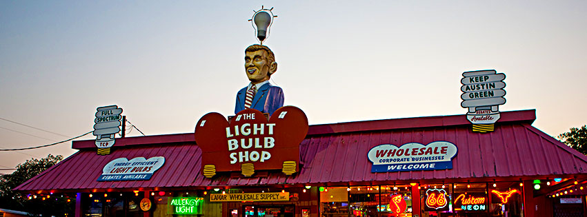 Light Bulb Shop Austin Business Signs
