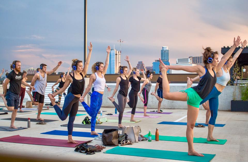 Stretch soundscape yoga on rooftop