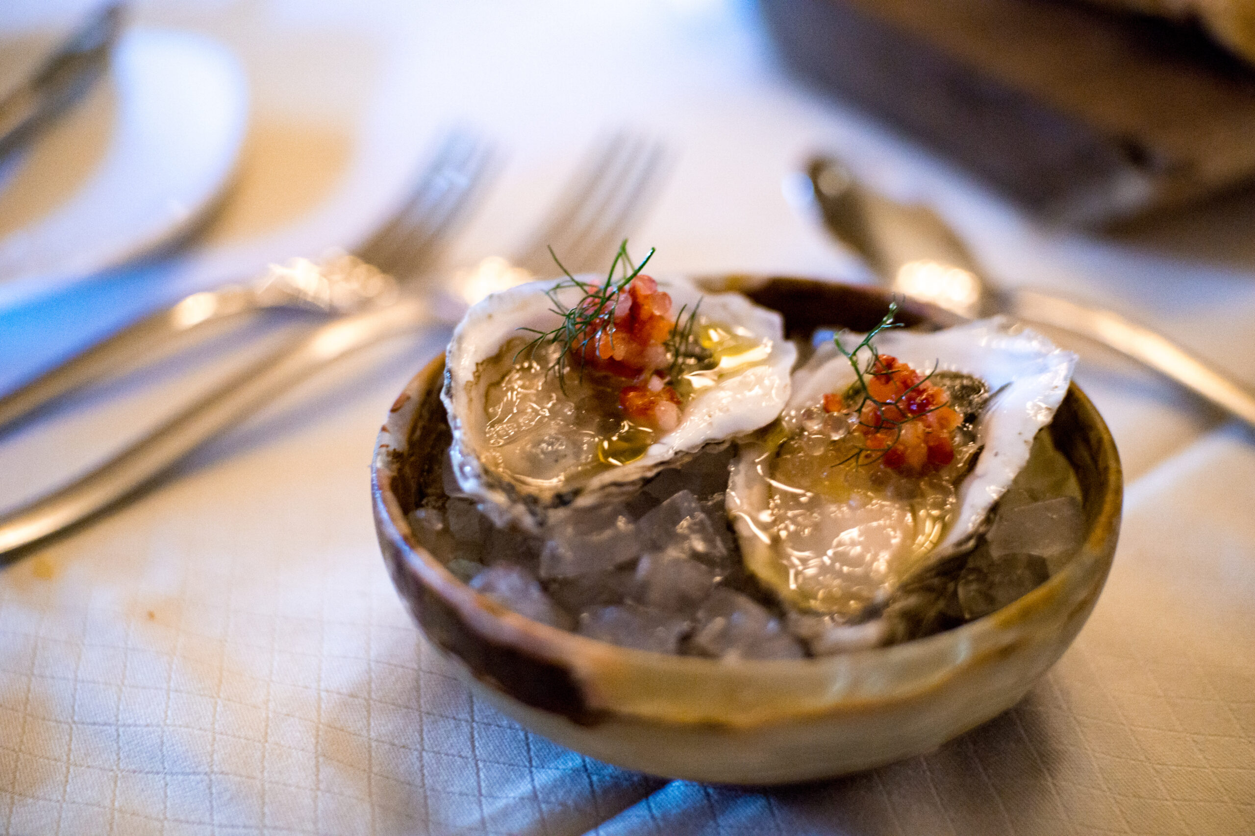 Sweet petite oysters with strawberries at The Carillon Austin