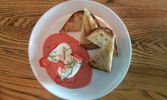 Oasthouse Kitchen Burrata + Strawberry starter