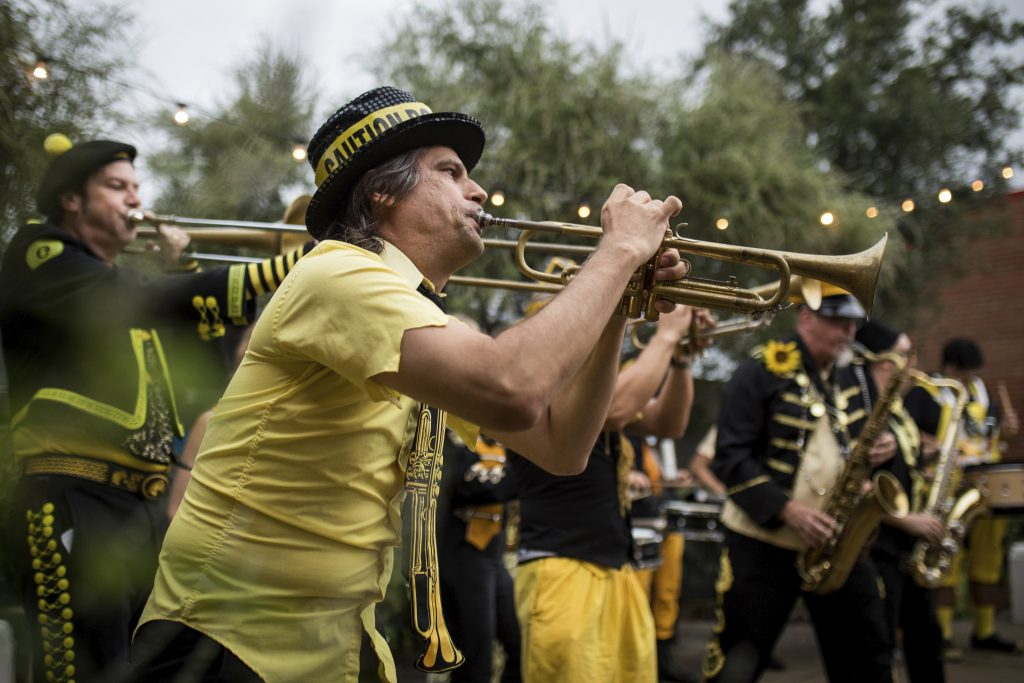Austin's Minor Mishaps Marching Band at Edge of Texas festival