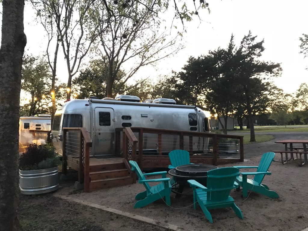 Airstream glamping Lake Bastrop's North Shore Park