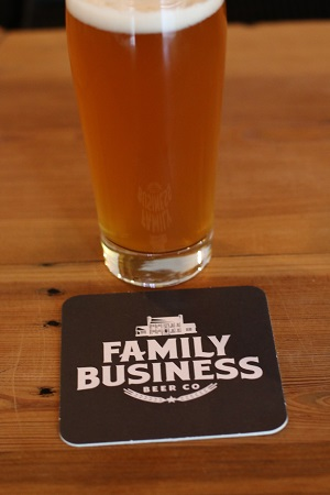 Family Business Brewing Company Glass and Logo