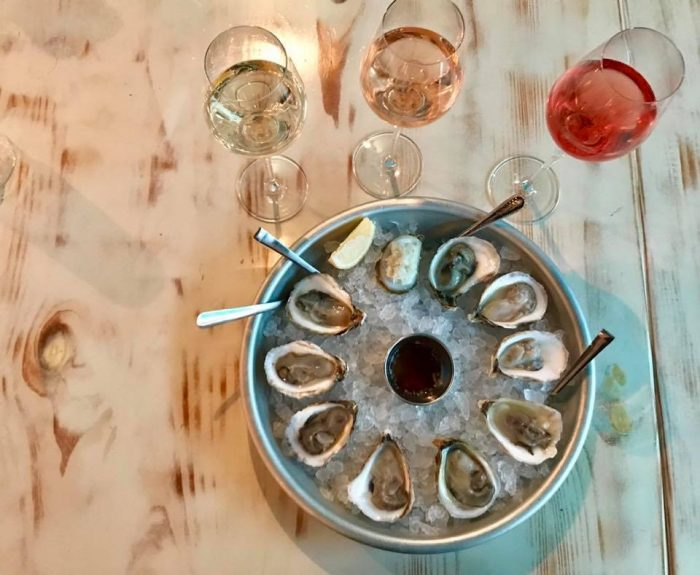Aviary Wine + Kitchen bubbles and oysters