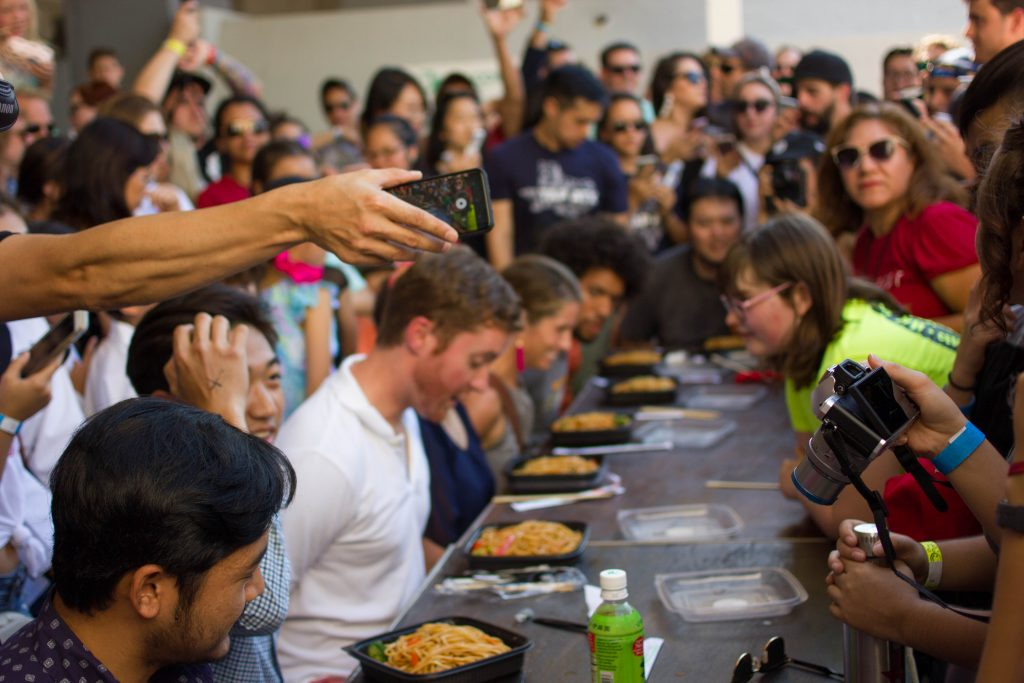 No-hands Noodle Eating Contest at Far East Fest