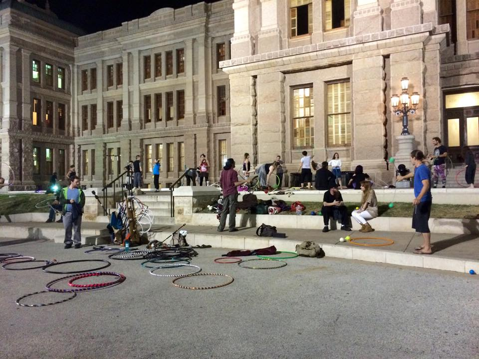 Hula hoops on the steps of the Texas State Capitol