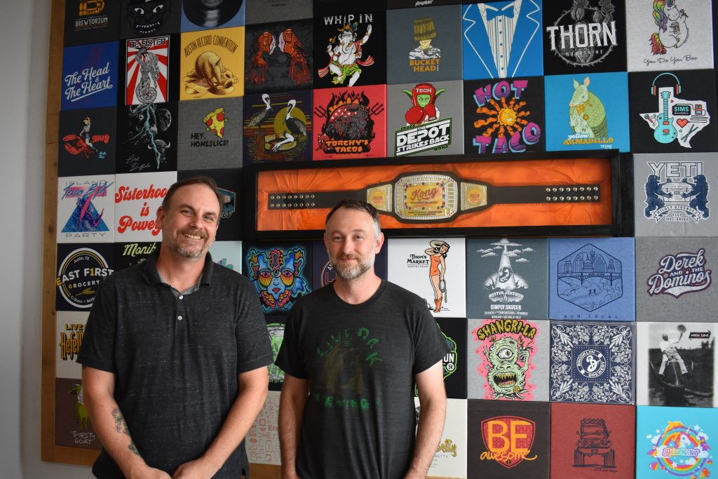Ryan Burkhart and Bruce Braden Owners of Kong Screen Printing Austin