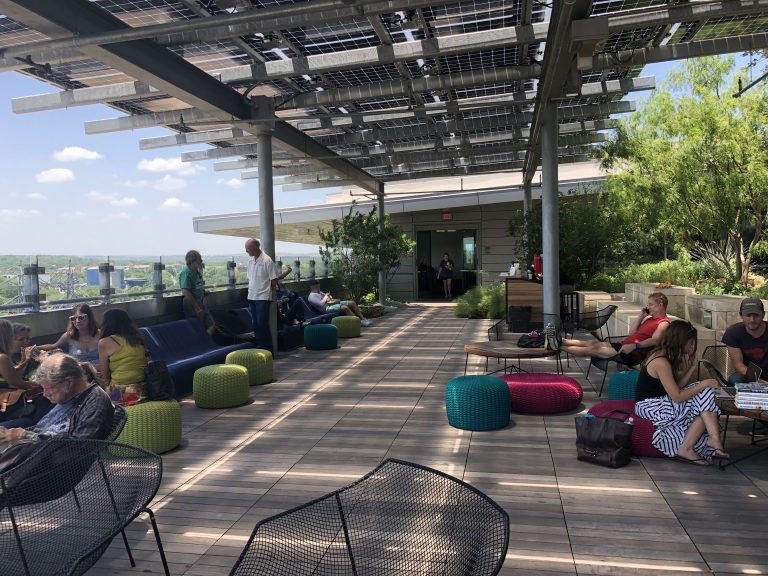 The library even has a rooftop garden where you can hang out and grab a coffee (Credit: Amanda Gagnon)
