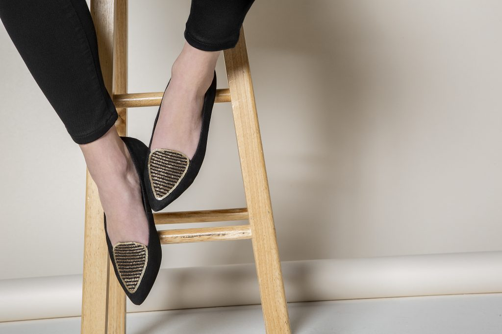 Embroidered flat shoe by RUMEE in Austin
