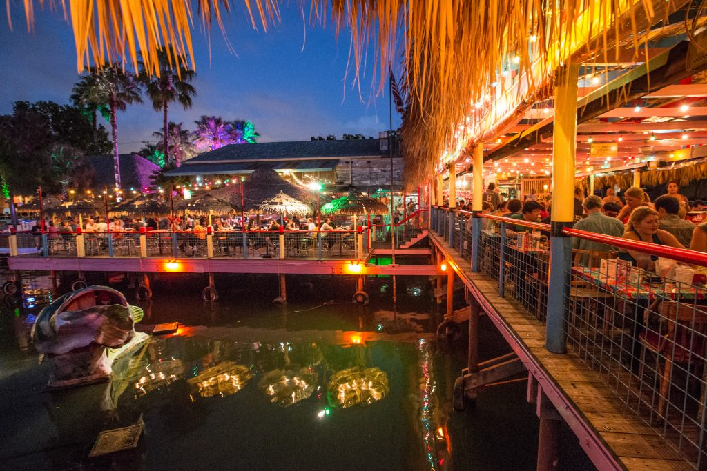 Hula Hut on Lake Austin at Night