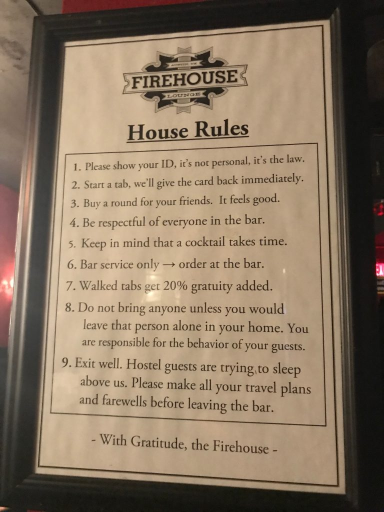 Firehouse Lounge House Rules in Austin