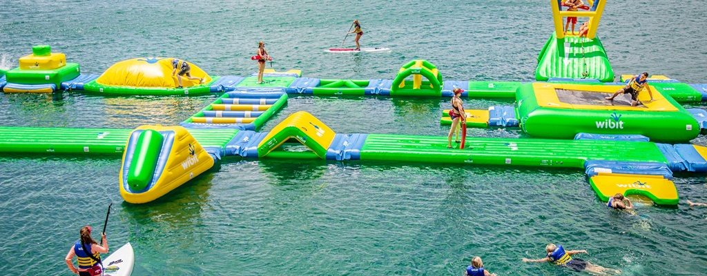 Waterloo Adventures floating obstacle course on Lake Travis