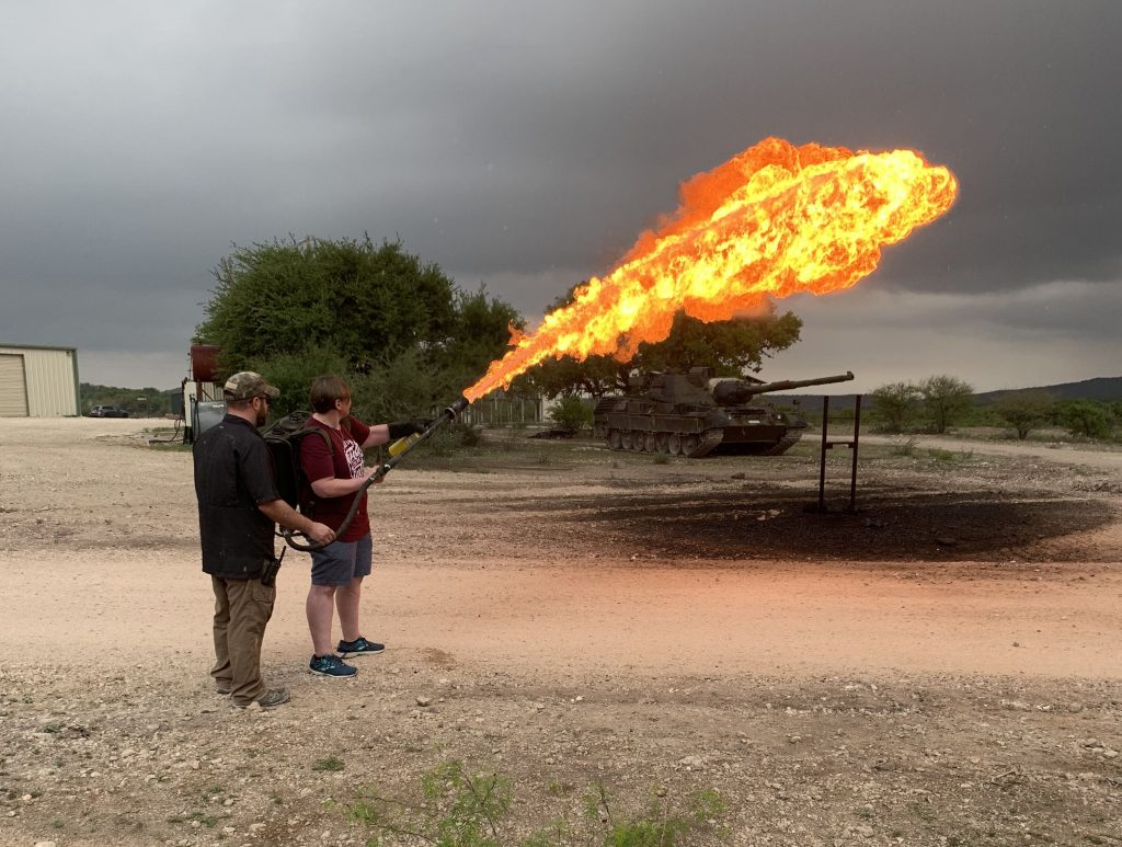 Shoot a Flame thrower at DriveTanks.com Near San Antonio, TX