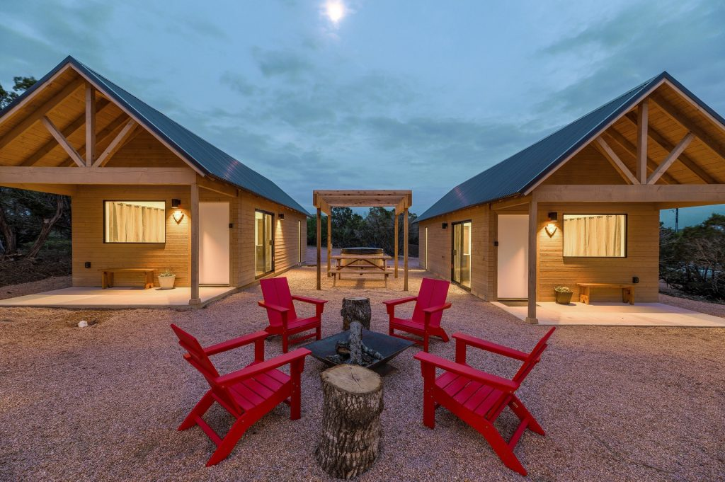 Fire Pit and Outdoor Seating at Lucky Arrow Retreat Cabins