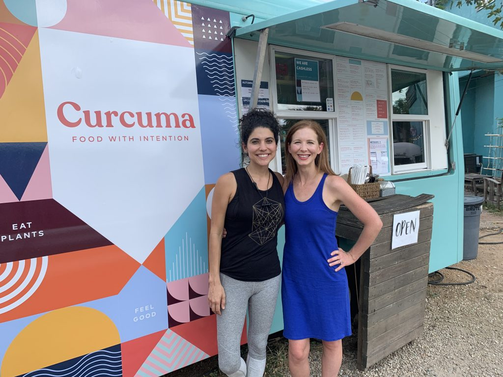 Megan Adams Brown with Curcuma owner Rachel Musquiz in Austin