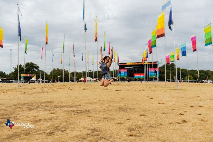 Jumping for Joy in Field of Flags at ACL Fest 2019