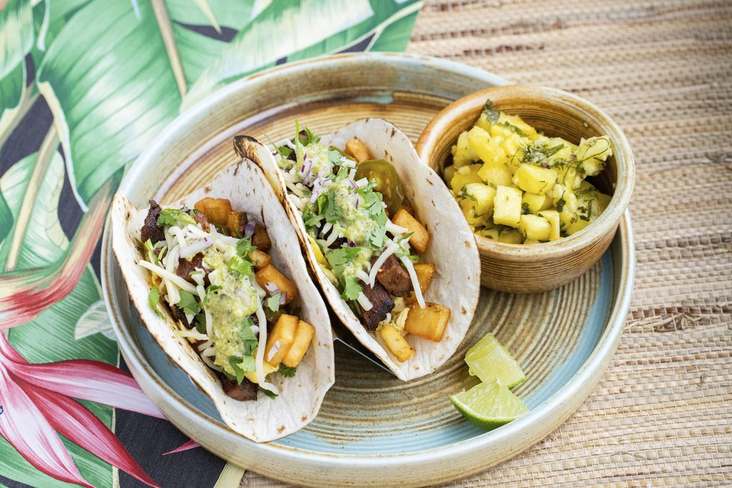 Brisket breakfast tacos with a side of Thai pineapple salad for Austin Brunch